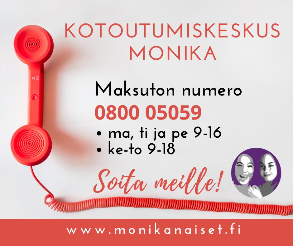 Kotoutumiskeskus Monikan uusi puhelinnumero 0800 05059