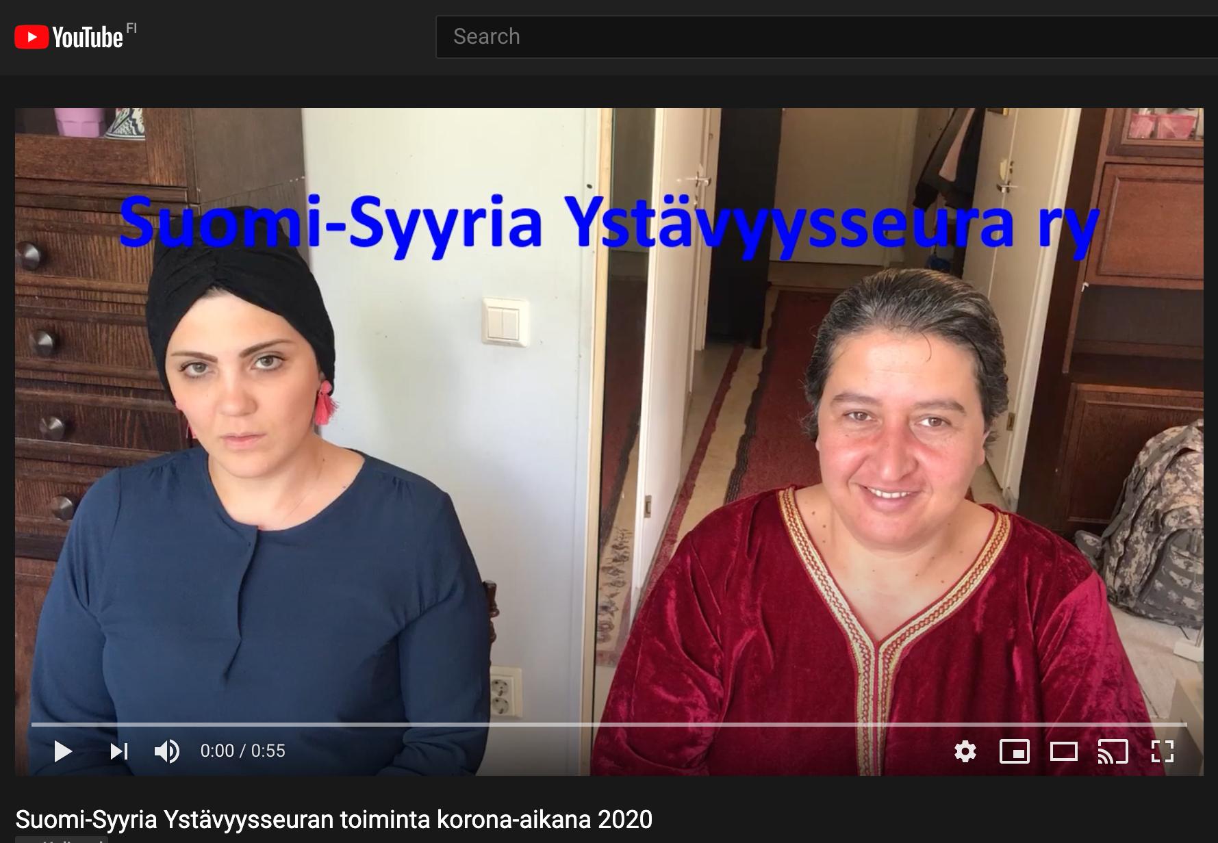 Kuvakaappaus YouTube-videosta. Kuvassa Suomi-Syyria Ystävyysseura ry:n työntekijöitä.