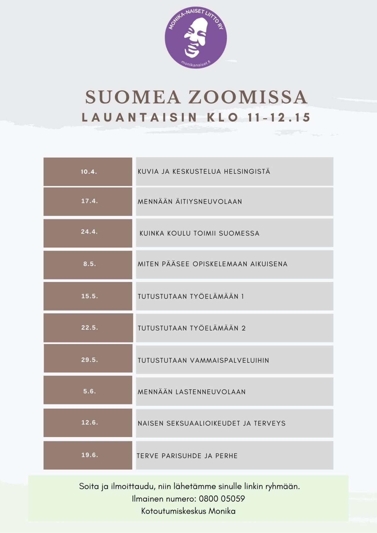 "Mainoskuva ""Suomea Zoomissa lauantaisin klo 11-12.15."""